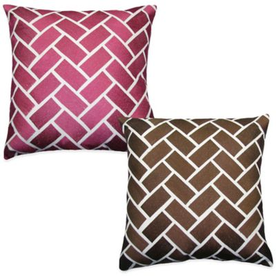 Bricks Embroidered Square Throw Pillow in Pink