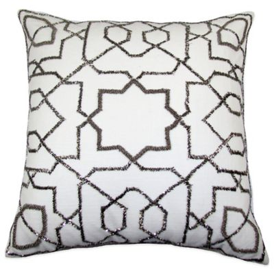 Solara Beaded Square Throw Pillow in Silver