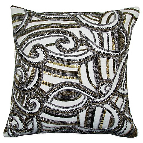 Buy Charisma Swirl Square Beaded Throw Pillow in Gold/Silver from Bed Bath & Beyond