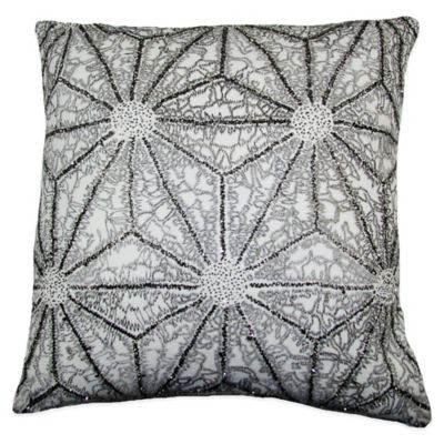 Geometric Flower Beaded Square Throw Pillow in Silver