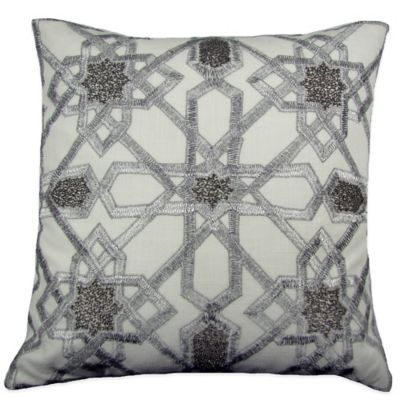 Zeigal Beaded Square Throw Pillow in Silver