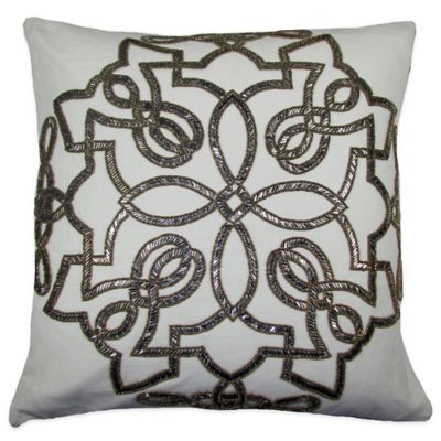 Tegel Beaded Square Throw Pillow in Gold/Silver