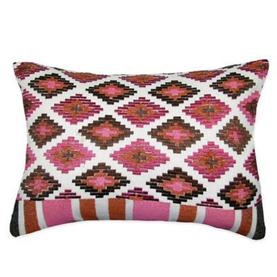 Medley Embroidered Oblong Throw Pillow in Brown