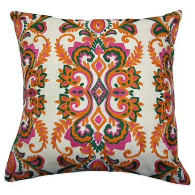 Vienna Embroidered Square Throw Pillow in Green