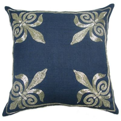 Fleur-De-Lis Square Throw Pillow in Navy