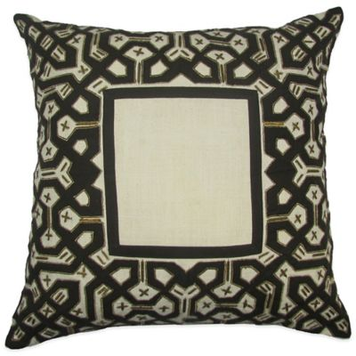 Brunette Hand Embroidered 22-Inch Square Throw Pillow in Chocolate