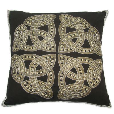 Brunette Hand Embroidered 20-Inch Square Throw Pillow in Chocolate
