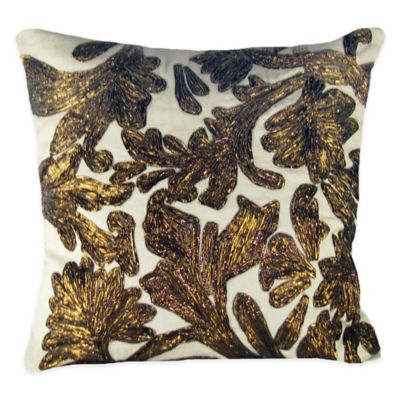 Lurex Floral Embroidered Square Throw Pillow in Copper