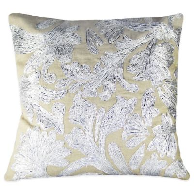 Lurex Floral Embroidered Square Throw Pillow in Silver