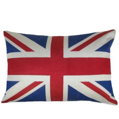British Flag Embroidered Oblong Throw Pillow