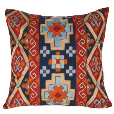 Diamond Border Kilm Pattern Embroidered Square Throw Pillow in Blue