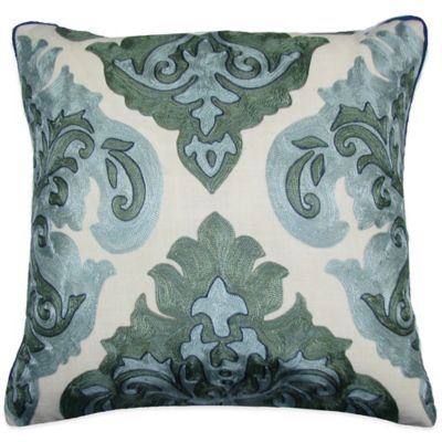 Arabic Damask Embroidered Square Throw Pillow in Green