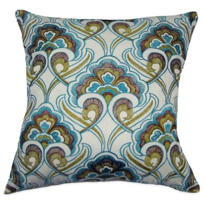 Peacock Embroidered Square Throw Pillow