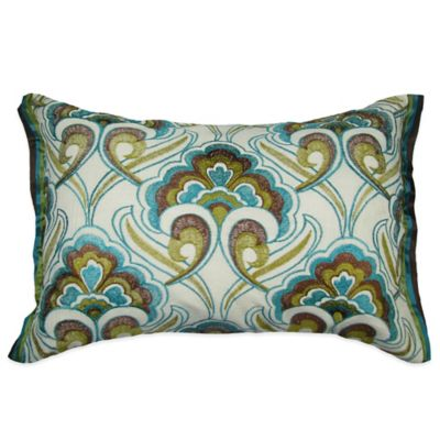Peacock Embroidered Oblong Throw Pillow