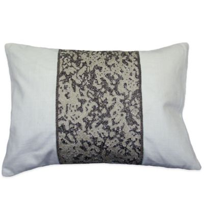 Gliteratti Beaded Oblong Throw Pillow in Ivory