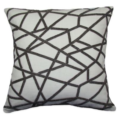Rail Track Beaded Square Throw Pillow in Silver