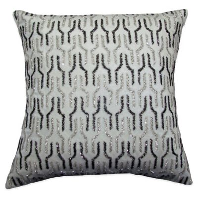 Link Stripe Beaded Square Throw Pillow in Ivory