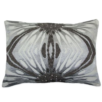 Adele Beaded Oblong Throw Pillow in Silver