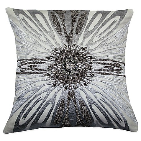 Silver Beaded Decorative Pillow : Adele Beaded Square Throw Pillow in Silver - Bed Bath & Beyond