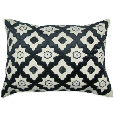 Bib Hand Embroidered Oblong Throw Pillow in Black