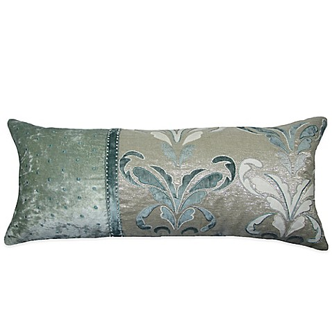 Buy Goa Hand Embroidered Oblong Throw Pillow in Blue from Bed Bath & Beyond