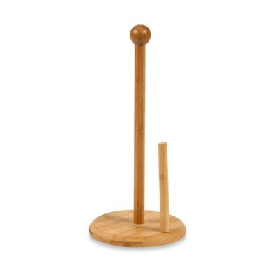Home Basics Bamboo 13-1/2 Inch Paper Towel Holder