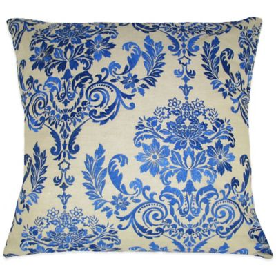 French Blue Throw Pillows : French Damask Embroidered Square Throw Pillow - www.BedBathandBeyond.com
