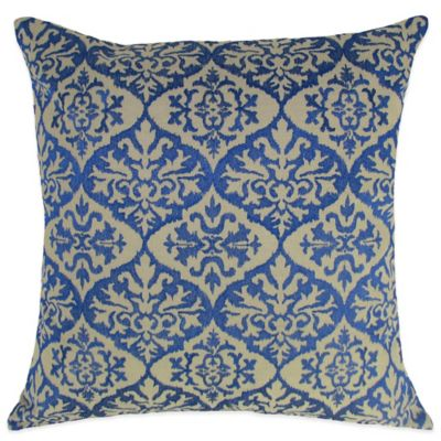 Ikat Embroidered Square Throw Pillow in Blue