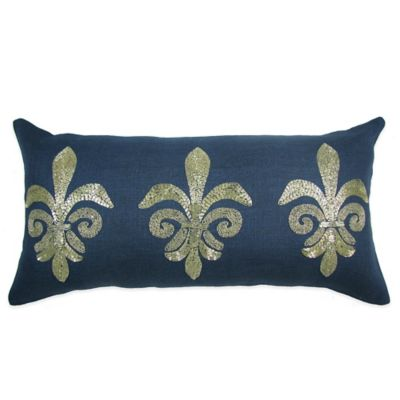 Fleur De Lis Beaded Breakfast Throw Pillow in Navy