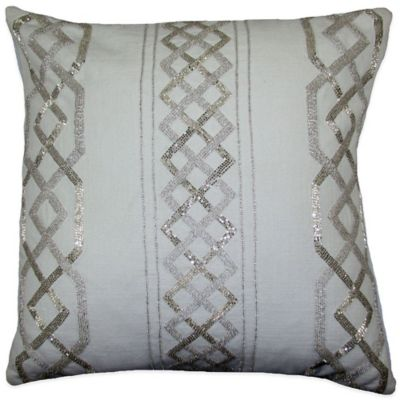 Tusk Beaded Square Throw Pillow in Ivory