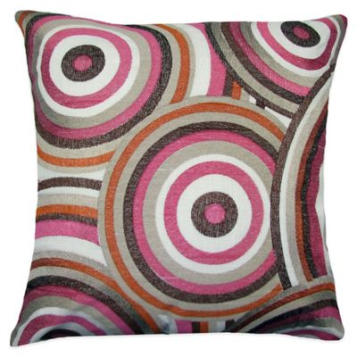 Kaliedoscope Embroidered Square Throw Pillow in Brown