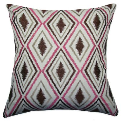 Ikat Tile Square Throw Pillow in Brown