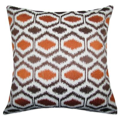 Ikat Dots Square Throw Pillow in Brown