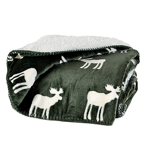 Reversible Plush Nordic Moose Throw Blanket Bed Bath