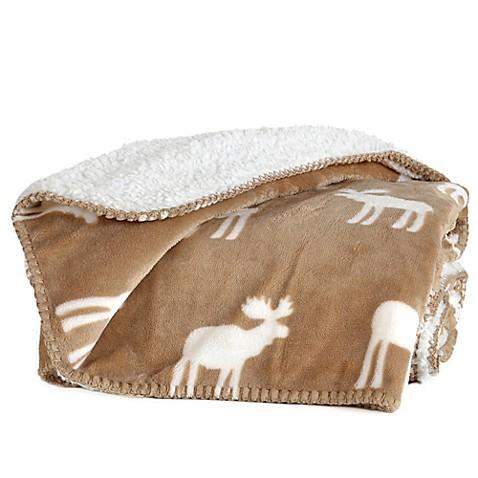 Reversible Plush Nordic Moose Throw Blanket Bed Bath