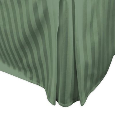 500-Thread-Count Damask Stripe Twin Bed Skirt in Sage