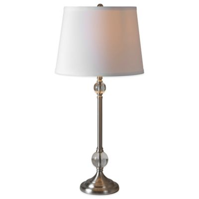 Ren-Wil San Marco Table Lamp in Satin Nickel with Linen Shade (Set of 2)