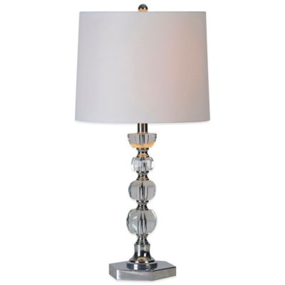 Ren-Wil Onega Table Lamp in Satin Nickel with Linen Shade (Set of 2)