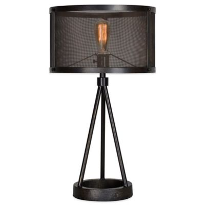 Ren-Wil Livingstone Table Lamp in Black with Metal Mesh Shade
