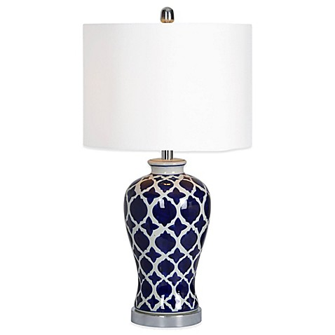 Buy Ren Wil Indigo Table Lamp With Cotton Shade In White