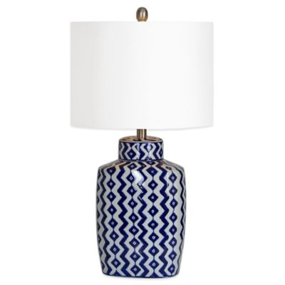 Ren-Wil Beryl Table Lamp in White/Blue with Off White Drum Shade
