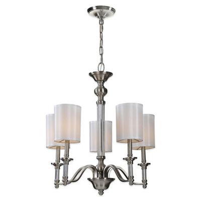Ren-Wil Rosa 5-Light Chandelier with Off-White Silk Shades