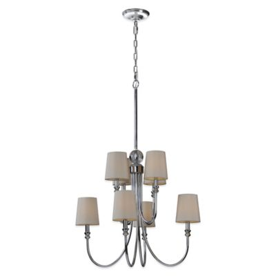 Ren-Wil Laurier 8-Light Chandelier with Silk Shades in Off-White