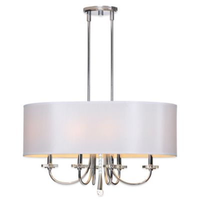 Ren-Wil Lux 6-Light Chandelier in Off-White with Silk Shade