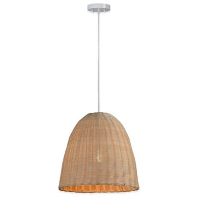 Ren-Wil Sincora Pendant in Beige with Woven Rattan Shade