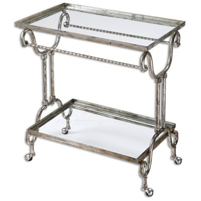 Uttermost Acasia Metal Tea Cart in Silver Leaf