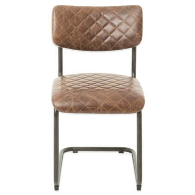 Beekman 1802 Chalybeate Side Chair in Quilted Leather and Burlap Back