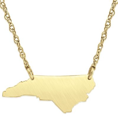 Alison & Ivy® 14K Gold-Plated Sterling Silver 18-Inch North Carolina State Pendant Necklace