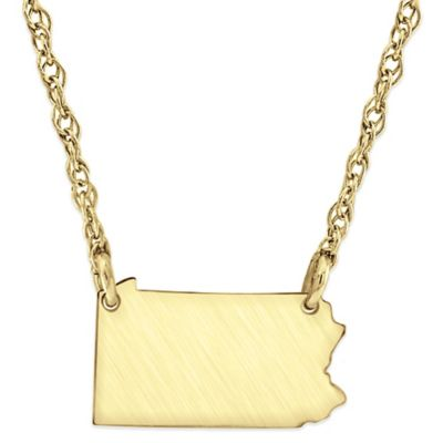 Alison & Ivy® 14K Gold-Plated Sterling Silver 18-Inch Pennsylvania State Pendant Necklace