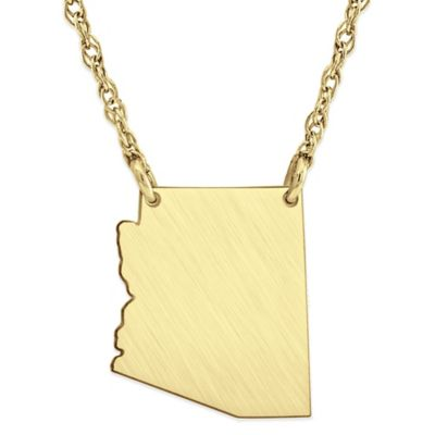 14K Gold-Plated Sterling Silver 18-Inch Chain Arizona State Pendant Necklace